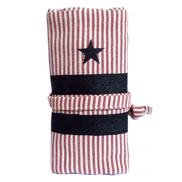 fabric watch roll in red and white ticking with black lining