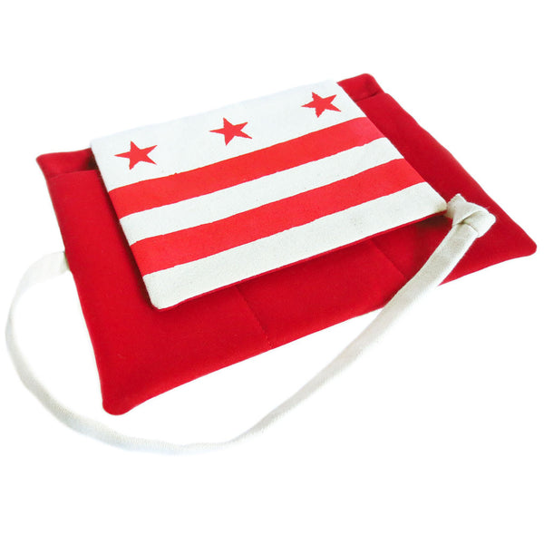 fabric watch roll from Holland Cox features the DC flag stenciled in red