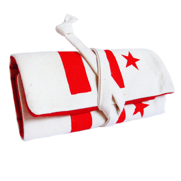 canvas watch roll featuring the DC flag stenciled in red