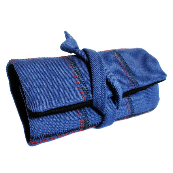 heavyweight twill watch roll in dark blue with stitched in plaid design from Holland Cox