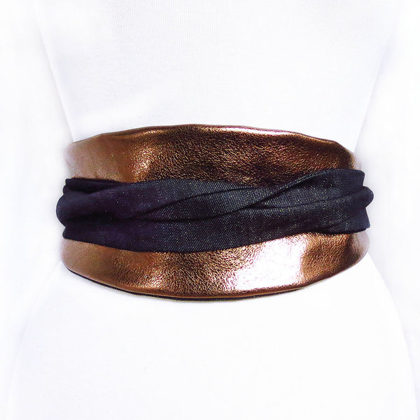 bronze leather obi style wrap belt with long ties in gold-flecked denim