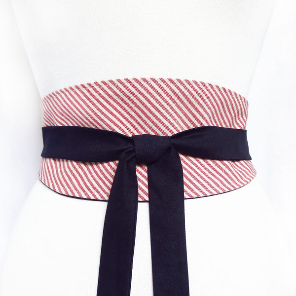 red ticking wrap belt