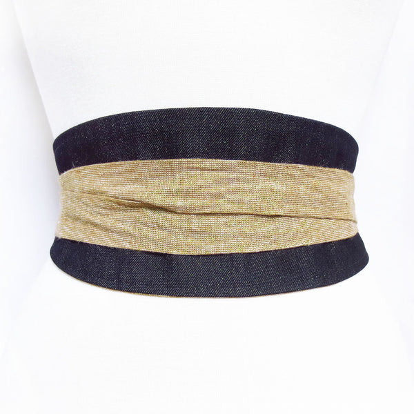 obi style wrap belt in gold-flecked denim, with long ties made of gold metallic essex linen