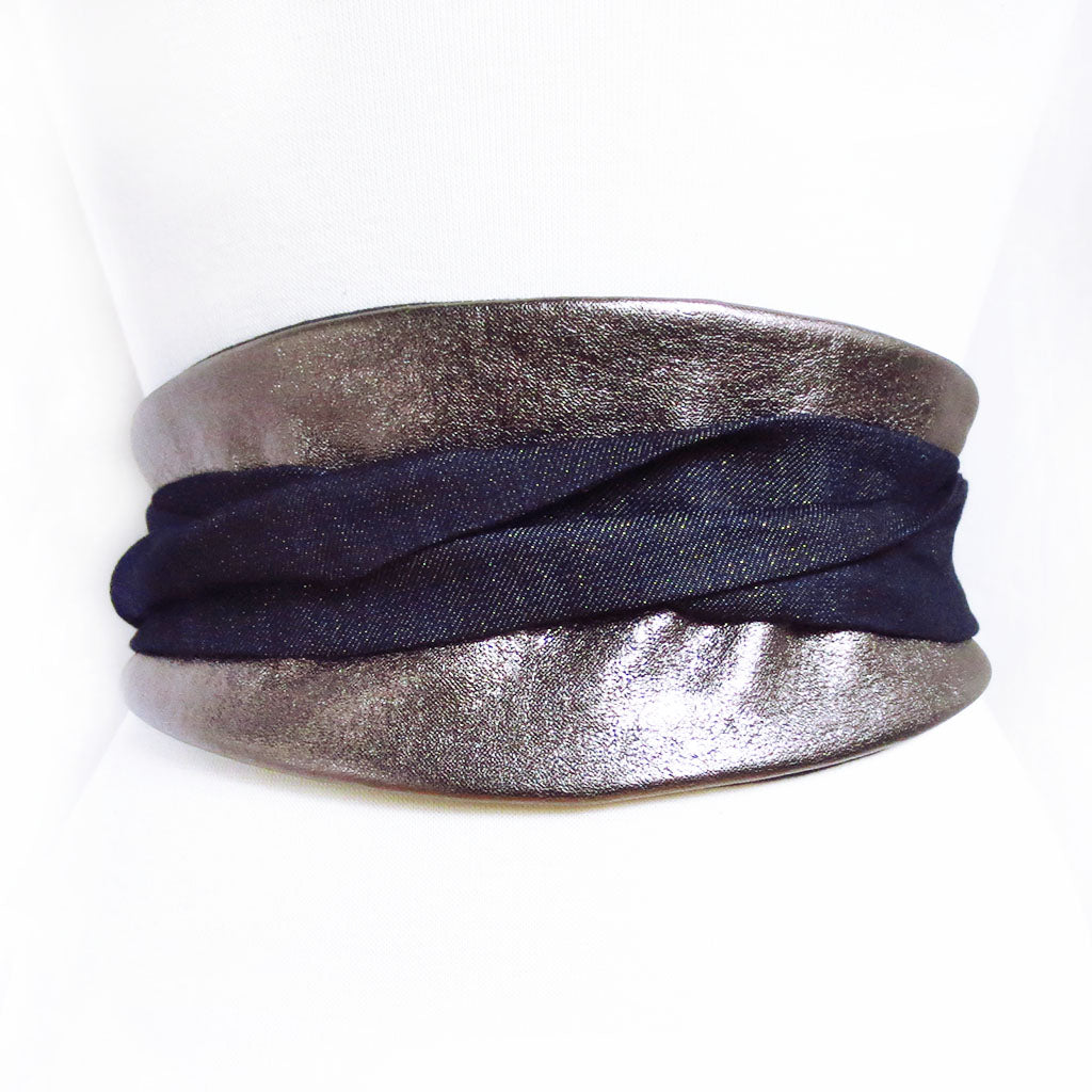 pewter leather obi-style wrap belt with long ties in gold-flecked denim, wrapped and tied in the back