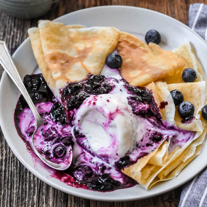 Crêpes with Blueberry Balsamic Sauce