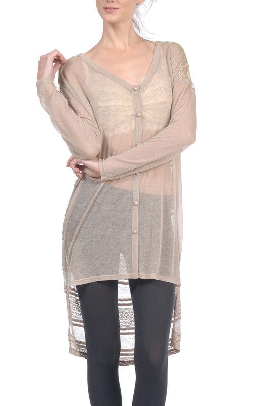 Sheer Long Sleeve Hi-Low Cardigan with Lace Back Detail