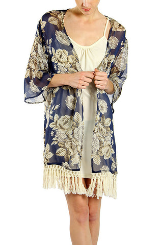 Square Silhouette Chiffon Printed Jacket with Tassel Detailed Bottom