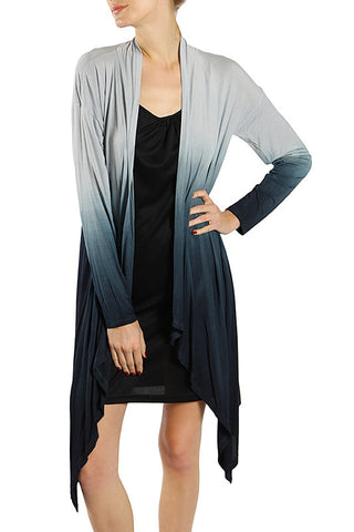 Dip Dye Knit Jacket with Drapery Front