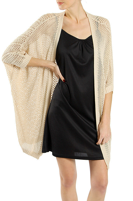 Loose Fit Dolman Sleeve Scotch Structured Sweater Jacket