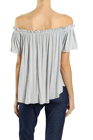 High Low Washed Knit Top with Off the Shoulder Elastic Shirring
