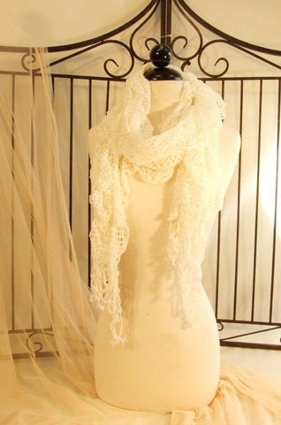 Netting Scarf with Fringe Detail