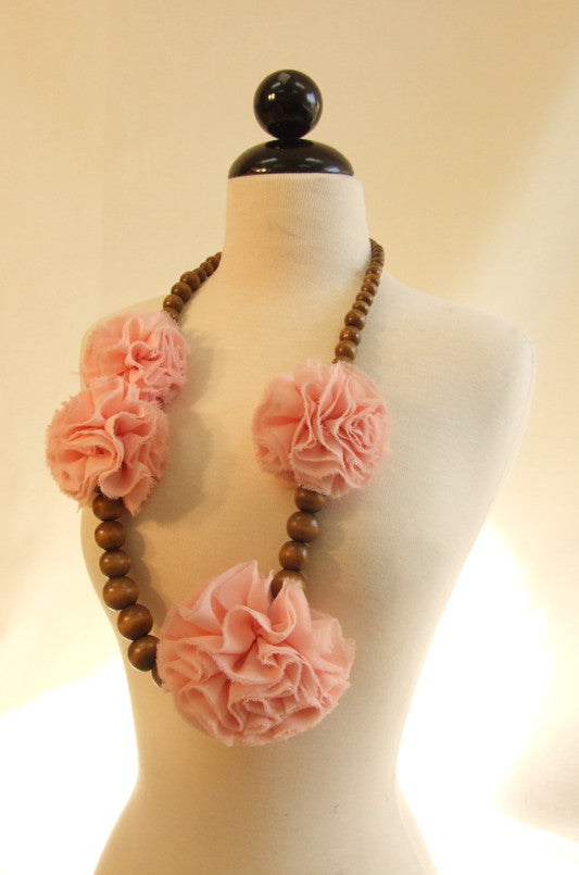 Wooden Beaded Necklace with Chiffon Corsage