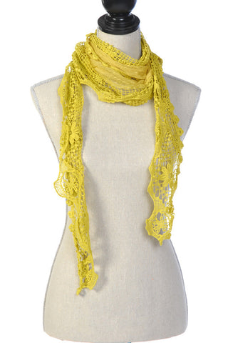 Laced Scarf with Floral Lace Trim