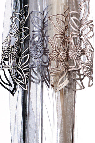 Sheer Scarf with Large Flower trim