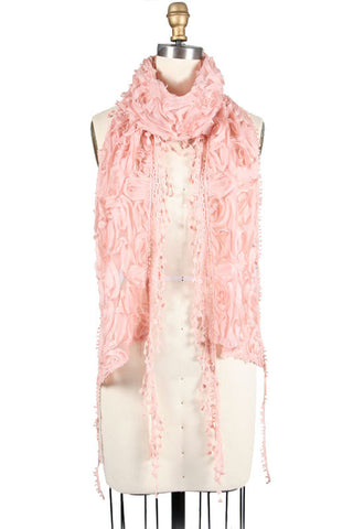 Flower Scarf with Fringe