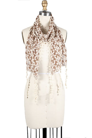 Flower Crochet Scarf with Fringe
