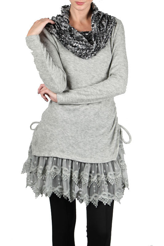 Cowl Neck Oversized Tunic Top