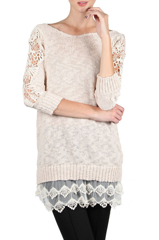 Sweater Dress with Lacey Shoulder & Bottom