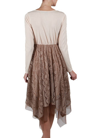 Long Sleeve Slip Dress with Flowy Lace Bottom