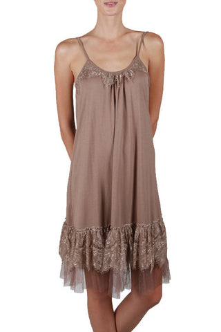 Lace Trim Slip Dress with Lace Neck Line