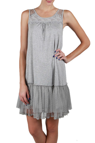Mesh Tank Lace Trim Slip Dress