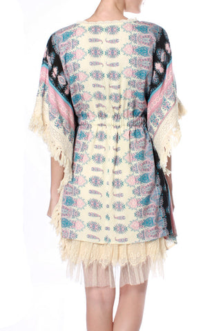 Tribal Patterned Dolmen Dress with a Waist Tie & Wide Sleeves with Fringe