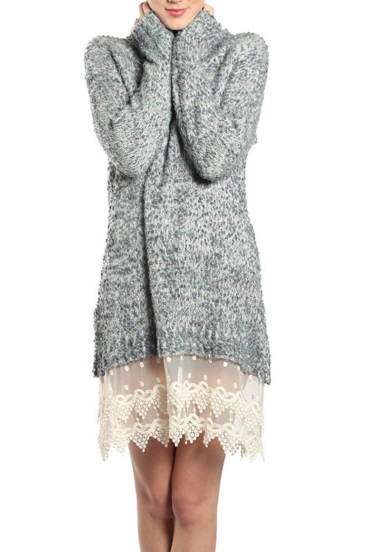 Sweater Dress with Lace Bottom