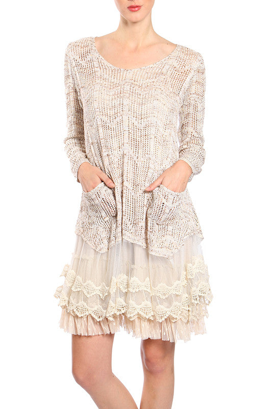 Long Sleeve Dress with Crochet Detail & Lace Trim