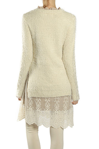 Long Sleeve Sweater Dress with Lace Bottom