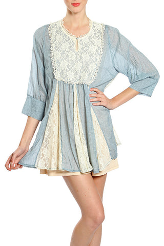 Flowy Crinkle Peasant with Lace Top