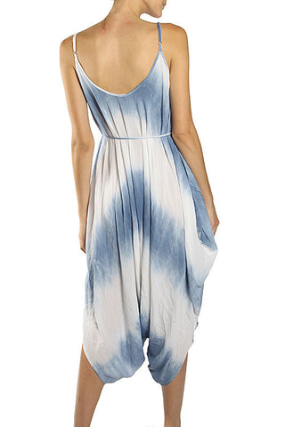 Tie-Dye Jumpsuit with Crochet Embroidery