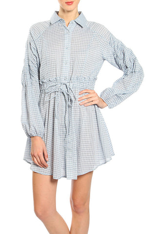 Checkered Long Sleeve Waist Tie Dress