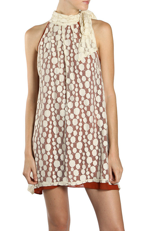 Pleated Shift Dress with Polka Dot Lace Overlay
