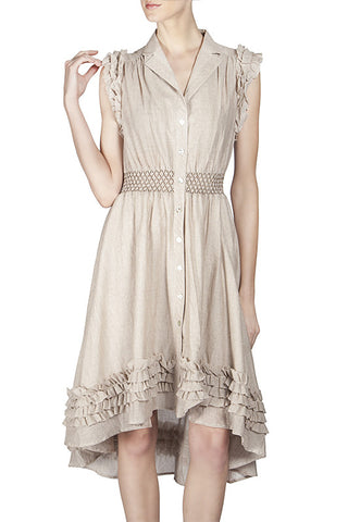 Frill Detail Button Down Dress with Notch Collar
