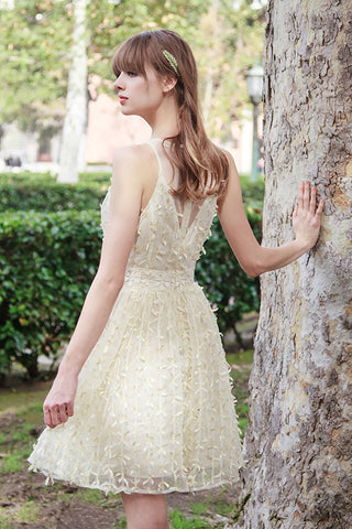 Lace Detail Textured Dress