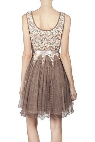 Lace Contrast Dress with Ruffle Hem