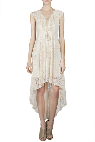 High-Low Lace Dress with Ruffle Neckline