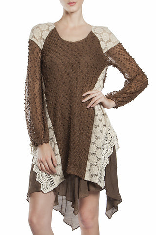 Light Sweater Doubled Layered Lace Dress