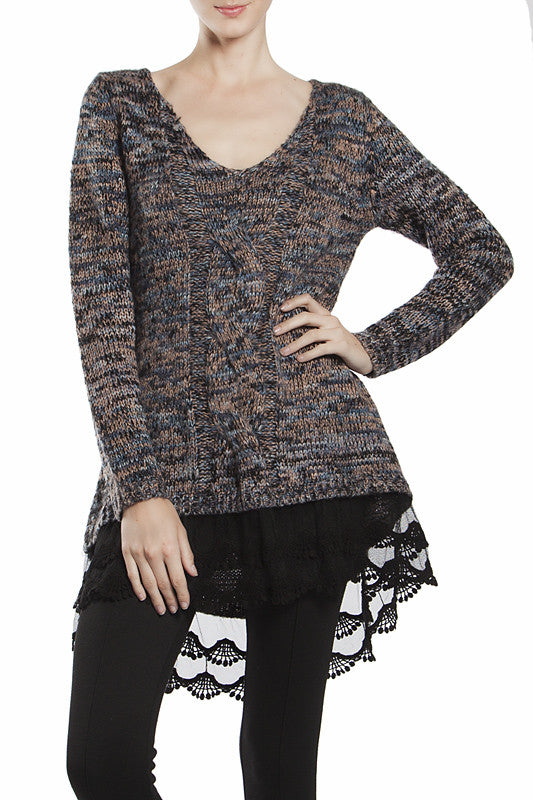 Cable Knit Sweater with Scalloped Lace