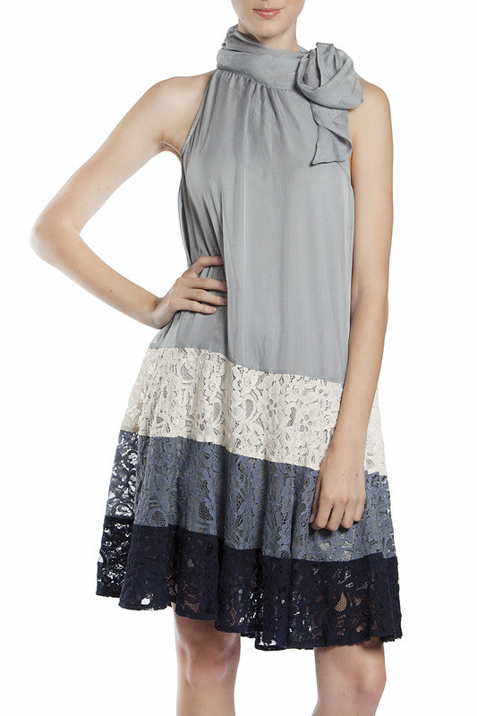 A Line Dress with Floral Colorblock