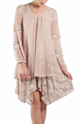 Light Sweater Laced Dress