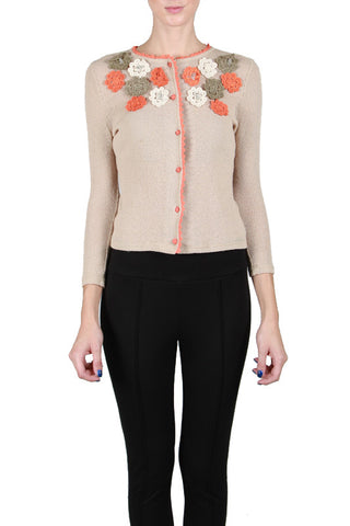 Long Sleeve Cardigan with Floral Appliques