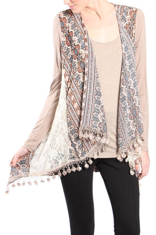 Ethnic Printed Cardigan with Lace Side and Fringe