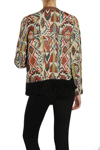 Off Centered Printed Jacket with Fringe Trim