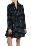 Checkered Coat with Leather Belt Tie