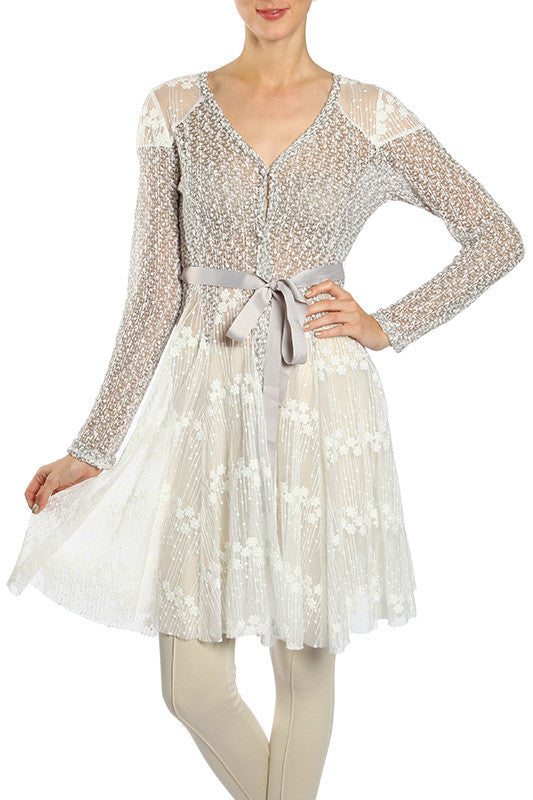 Ribbon Detail Lace Contrast Knit Cardigan