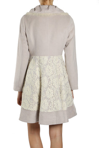 Peter Pan Collar Coat with Floral Lace Overlay