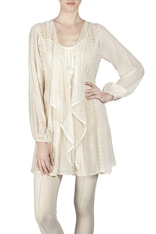 Lace Contrast Draped Collar Cardigan