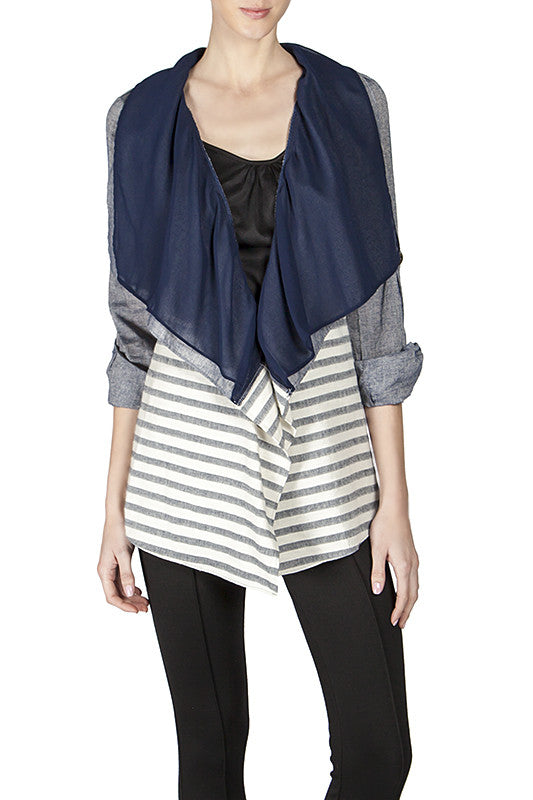 Striped Cardigan with Draped Collar