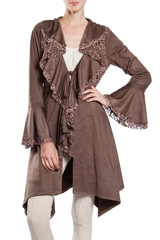 Bell Sleeved Lace Embroidered Faux Suede Coat with Long Collar